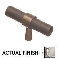 """Colonial Bronze - Split Finish - 2"""" T Knob In Matte Satin Chrome And Polished Chrome"""