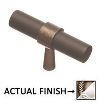 """Colonial Bronze - Split Finish - 2"""" T Knob In Matte Antique Brass And Polished Chrome"""