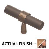 """Colonial Bronze - Split Finish - 2"""" T Knob In Matte Satin Copper And Antique Copper"""