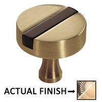"Colonial Bronze - Split Finish - 1 1/2"" Knob In Antique Bronze And Satin Brass"