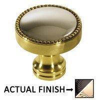 """Colonial Bronze - Split Finish - 1 1/4"""" Knob In Satin Black And Satin Bronze"""