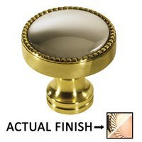 "Colonial Bronze - Split Finish - 1 1/4"" Knob In Polished Brass And Satin Bronze"