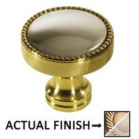 """Colonial Bronze - Split Finish - 1 1/4"""" Knob In Antique Brass And Oil Rubbed Bronze"""
