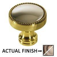 "Colonial Bronze - Split Finish - 1 1/4"" Knob In Matte Antique Brass And Satin Nickel"