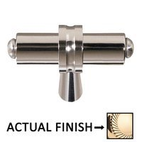"""Colonial Bronze - Split Finish - 1 1/4"""" Overall Length T Shape Knob In Polished Brass And Oil Rubbed Bronze"""