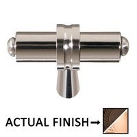 """Colonial Bronze - Split Finish - 2 1/4"""" Overall Length T Shape Knob In Oil Rubbed Bronze And Satin Bronze"""
