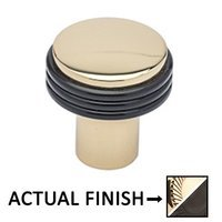 "Colonial Bronze - Split Finish - 1 1/4"" Diameter Knob In Polished Brass And Polished Nickel"