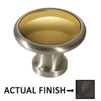 "Colonial Bronze - Split Finish - 1 1/4"" Diameter Knob In Dark Statuary Bronze And Satin Nickel"