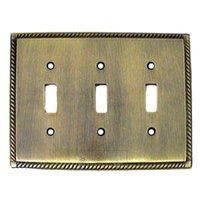 Colonial Bronze - Arlington - Arlington Triple Toggle Switchplate in Antique Brass
