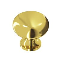 "Colonial Bronze - Quickship - Quick Ship French Gold Knob Solid Brass 1 1/4"" ( 32mm )"