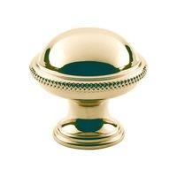 "Classic Brass - Hutter Classic - 1 1/4"" Diameter Cross Hatch Edge Knob in Antique Polished Silver"