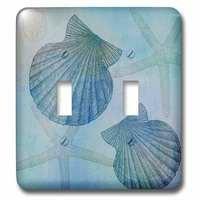 Jazzy Wallplates - Nautical - Double Toggle Wallplate With Aqua Shells And Starfish Beach Themed Art