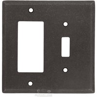Colonial Bronze - Square Bevel - Square Bevel Combo GFI/ Toggle Switchplate in Distressed Oil Rubbed Bronze
