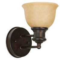 Craftmade - Light Rail Lighting - Single Wall Sconce in Oiled Bronze with Tea Stained Glass