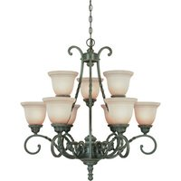 "Craftmade - Jeremiah Sutherland Lighting - 31"" Chandelier in English Toffee with Faux Alabaster Glass"