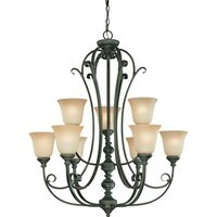 "Craftmade - Jeremiah Barrett Place Lighting - 32 1/2"" Chandelier in Mocha Bronze with Etched; Painted Glass"