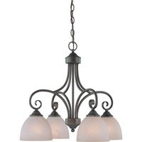 "Craftmade - Jeremiah Raleigh Lighting - 22 1/2"" Chandelier in Old Bronze with Faux Alabaster Glass"