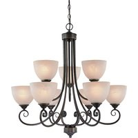 "Craftmade - Jeremiah Raleigh Lighting - 31"" Chandelier in Old Bronze with Faux Alabaster Glass"