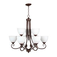 Craftmade - Jeremiah Raleigh Lighting - 9 Light Chandelier in Oiled Bronze with White Frosted Glass