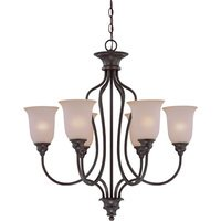 "Craftmade - Jeremiah Linden Lane Lighting - 27 1/2"" Chandelier in Old Bronze with Pressured Glass"