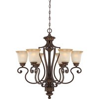 "Craftmade - Jeremiah Josephine Lighting - 28"" Chandelier in Aged Bronze with Gold with Light Teastain Glass"