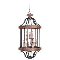 Craftmade - Jeremiah Ashwood Lighting Collection - 9 Light Foyer Light in Textured Black / Whiskey Barrel