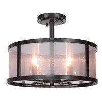 Craftmade - Jeremiah Danbury Lighting Collection - 4 Light Semi Flush in Matte Black with Organza-wrapped acrylic shade