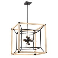 Craftmade - Tesseract - 8 Light Chandelier in Textured Black with Distressed Oak