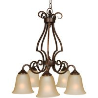 "Craftmade - Jeremiah Cecilia Lighting - 24"" Chandelier in Peruvian with Amber Frost Glass"