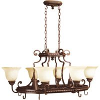 """Craftmade - Jeremiah Riata Lighting - 38 1/2"""" Chandelier with Pot Rack in Aged Bronze with Antique Scavo Glass"""