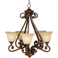 "Craftmade - Jeremiah Toscana Lighting - 27 1/2"" Chandelier in Peruvian with Antique Scavo Glass"