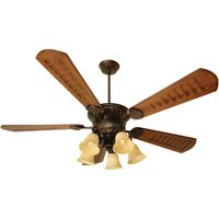 "Craftmade - DC Epic Ceiling Fan - 70"" Ceiling Fan with Custom Carved Blades in Scalloped Walnut and 5 Light Scroll Light Kit in Oiled Bronze with Antique Scavo Glass"