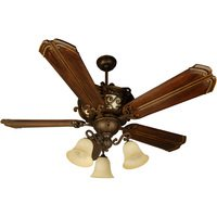 "Craftmade - Jeremiah Toscana Lighting - 56"" Ceiling Fan with Custom Carved Blades in Chamberlain Walnut and 3 Arm Light Kit in Peruvian with Antique Scavo Glass"