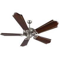 "Craftmade - American Tradition Ceiling Fan - 56"" Ceiling Fan in Brushed Nickel with Custom Carved Blades in Classic Walnut/Vintage Madera"