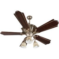 "Craftmade - Jeremiah Toscana Lighting - 56"" Ceiling Fan with Custom Carved Blades in Classic Walnut/Vintage Madera and 3 Light Kit in Athenian Obol with Amber Frost Glass"