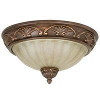 "Craftmade - Barcelona Lighting - 13"" Flush Mount Light in Aged Bronze with Tea Stained Glass"