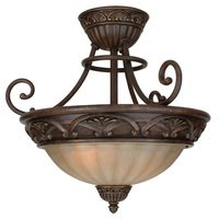"Craftmade - Barcelona Lighting - 16"" Semi Flush Light in Aged Bronze with Tea Stained Glass"