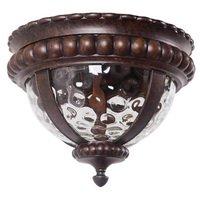"Craftmade - Exterior Prescott Lighting - 14"" Flush Mount Exterior Light in Peruvian Bronze with Clear Hammered Glass"