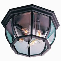 "Craftmade - Exterior Bent Glass Lighting - 12 3/4"" Flush Mount Exterior Light in Matte Black with Clear Beveled Glass"