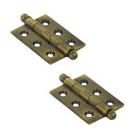 "Deltana Hardware - Solid Brass Cabinet Hinges - Solid Brass 2"" x 1 1/2"" Mortise Cabinet Hinge with Ball Tips (Sold as a Pair) in PVD Brass"