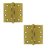 "Deltana Hardware - Solid Brass Lifetime Finish Hinges & Finials - Solid Brass 4"" x 4"" Standard Square Lifetime Finish Door Hinge (Sold as a Pair) in PVD Brass"