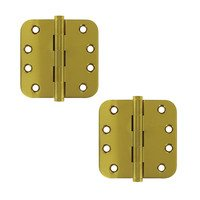 "Deltana Hardware - Solid Brass Lifetime Finish Hinges & Finials - Solid Brass 4"" x 4"" 5/8"" Radius Standard Lifetime Finish Door Hinge (Sold as a Pair) in PVD Brass"