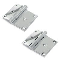 "Deltana Hardware - Solid Brass Half Surface Hinges - Solid Brass 3"" x 3 1/2"" Half Surface Door Hinge (Sold as a Pair) in Chrome"