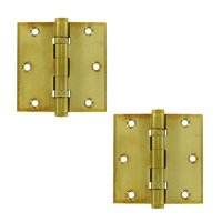 "Deltana Hardware - Solid Brass Door Hinges - Solid Brass 3 1/2"" x 3 1/2"" 2 Ball Bearing Square Door Hinge (Sold as a Pair) in Polished Brass Unlacquered"