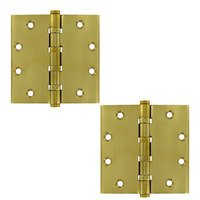 "Deltana Hardware - Solid Brass Door Hinges - Solid Brass 4 1/2"" x 4 1/2"" 4 Ball Bearing Square Door Hinge (Sold as a Pair) in Oil Rubbed Bronze"