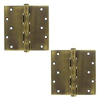 "Deltana Hardware - Solid Brass Special Feature Hinges & Finials - Solid Brass 6"" x 6"" Special Feature 4 Ball Bearing Square Door Hinge (Sold as a Pair) in Antique Brass"