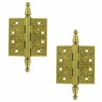 """Deltana Hardware - Solid Brass Ornate Door Hinges - Solid Brass 3 1/2"""" x 3 1/2"""" Square Door Hinge (Sold as a Pair) in Polished Brass"""