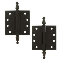 "Deltana Hardware - Solid Brass Ornate Door Hinges - Solid Brass 4"" x 4"" Square Door Hinge (Sold as a Pair) in Oil Rubbed Bronze"