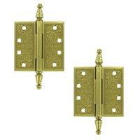 """Deltana Hardware - Solid Brass Ornate Door Hinges - Solid Brass 4"""" x 4"""" Square Door Hinge (Sold as a Pair) in Polished Brass"""
