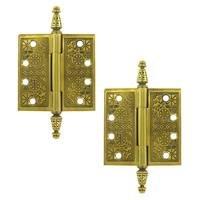 "Deltana Hardware - Solid Brass Ornate Door Hinges - Solid Brass 4"" x 4"" Square Door Hinge (Sold as a Pair) in Polished Brass Unlacquered"